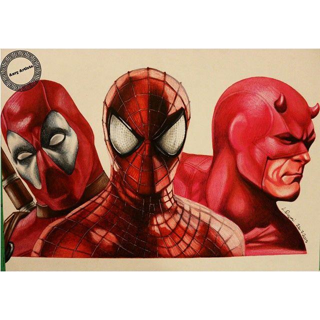 ArtWork terminado : Trio Maravilha Marvel  Letraset ProMarker e Polychromos Faber Castell no papel....by Aury Artist  #nintendo #marvel #ironman #avengers #retrato #ritratto #disegno #disney #arte #prismacolor #spiderman #deadpool #daredevil