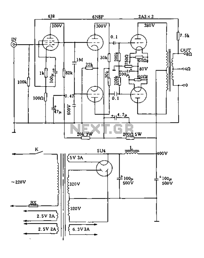 Class push-pull tube power amplifier circuit diagram 2A3A