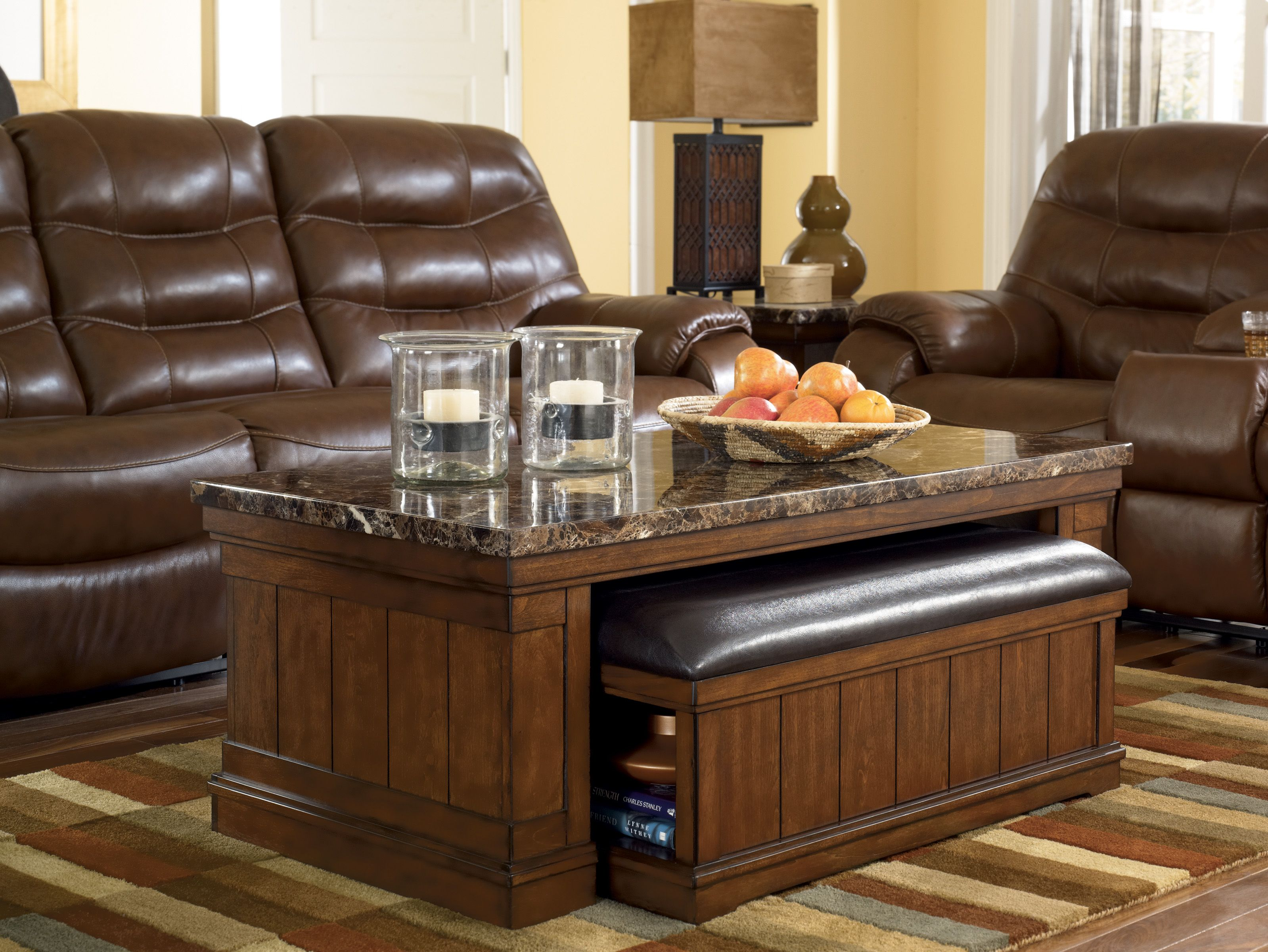 Merrill Coffee Table With Ottoman With The Warm Brown Finish Flowing Beautifully Over The Planked Si Coffee Table Ottoman Coffee Table Marble Top Coffee Table [ 2400 x 3198 Pixel ]