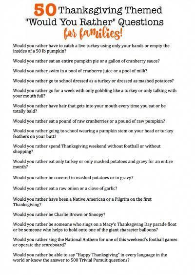 50 Thanksgiving-themed Would You Rather questions that are perfect for the whole family! #thanksgivingdinnertable