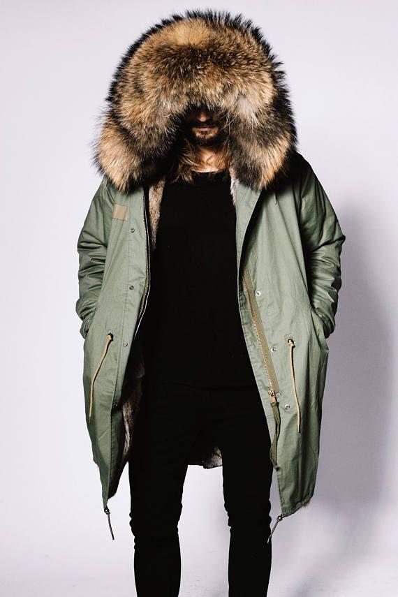 c7114be040f fur lined parka jacket mens