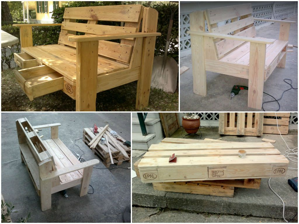 Pallet Garden Chair With Drawers #Drawer, #PalletChair, #RecycledPallet