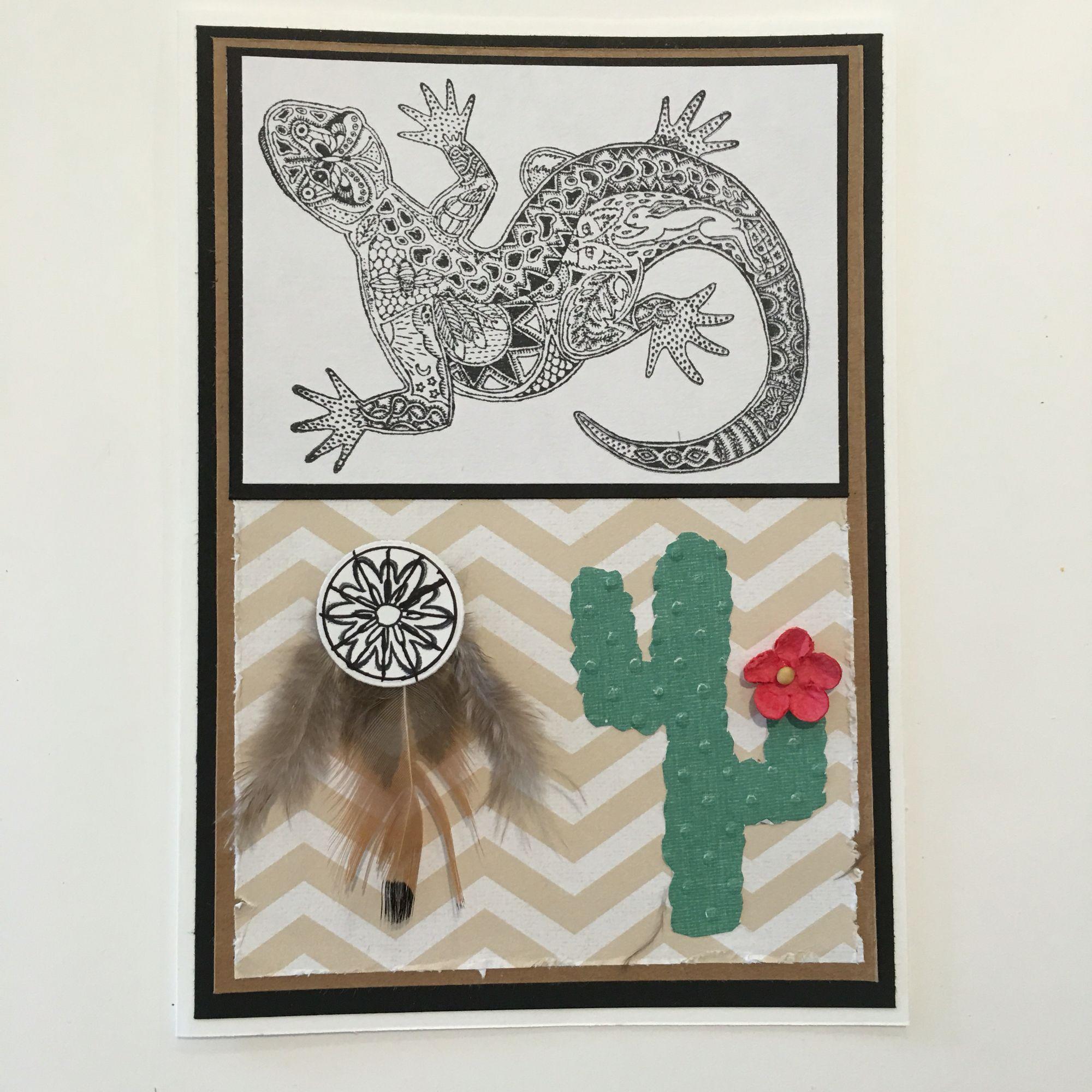 Cby Native American Spirit Animal Greeting Card Lizard Stamp Art