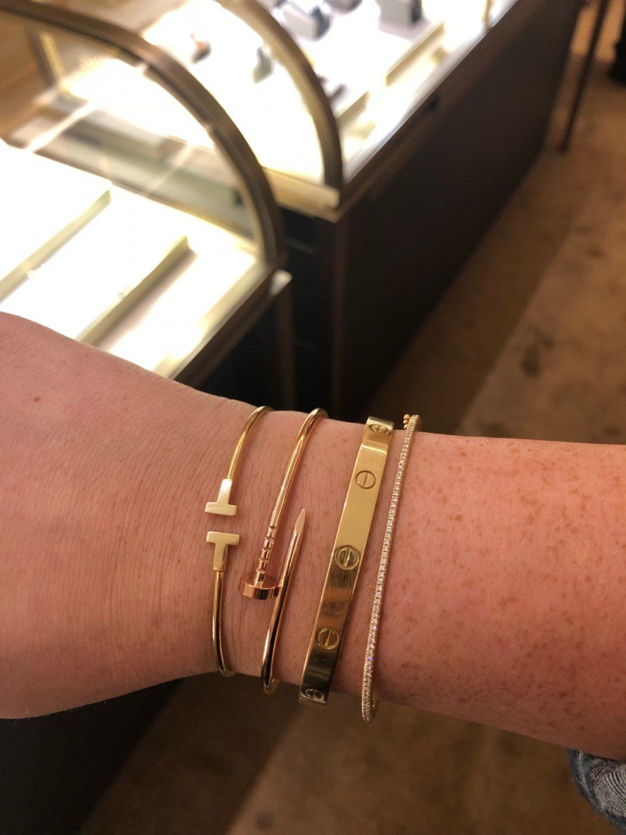 Narrow wire or wire bracelet  is part of Wrist jewelry, Luxe jewelry, Gold bracelets stacked, Cartier bracelet, Hermes jewelry, Diy jewelry earrings - Thinking of getting one of these to wear with my love but not sure if I should go for the narrow wire or the wire  Also, a bit concerned by how