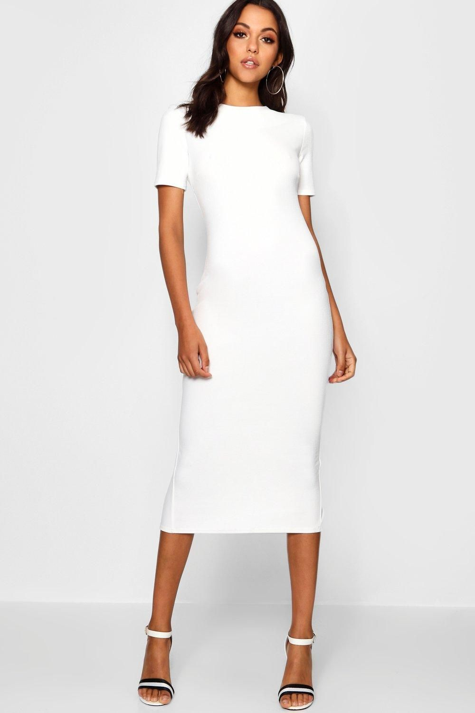 Tall Short Sleeve Tailored Midi Dress Boohoo Canada Professional Dresses Midi Dress Bodycon Fashion [ 1500 x 1000 Pixel ]