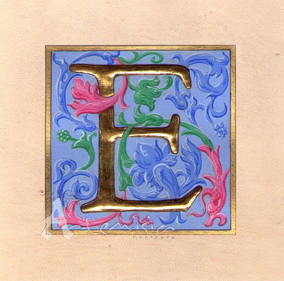 Illuminated letter E on parchment - gold leaf and egg ... on