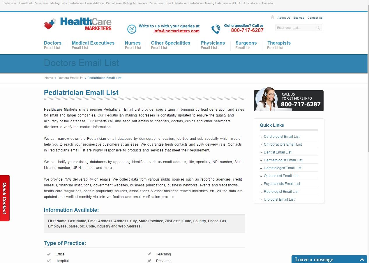 Pediatric Physicians Mailing Address List From Healthcare