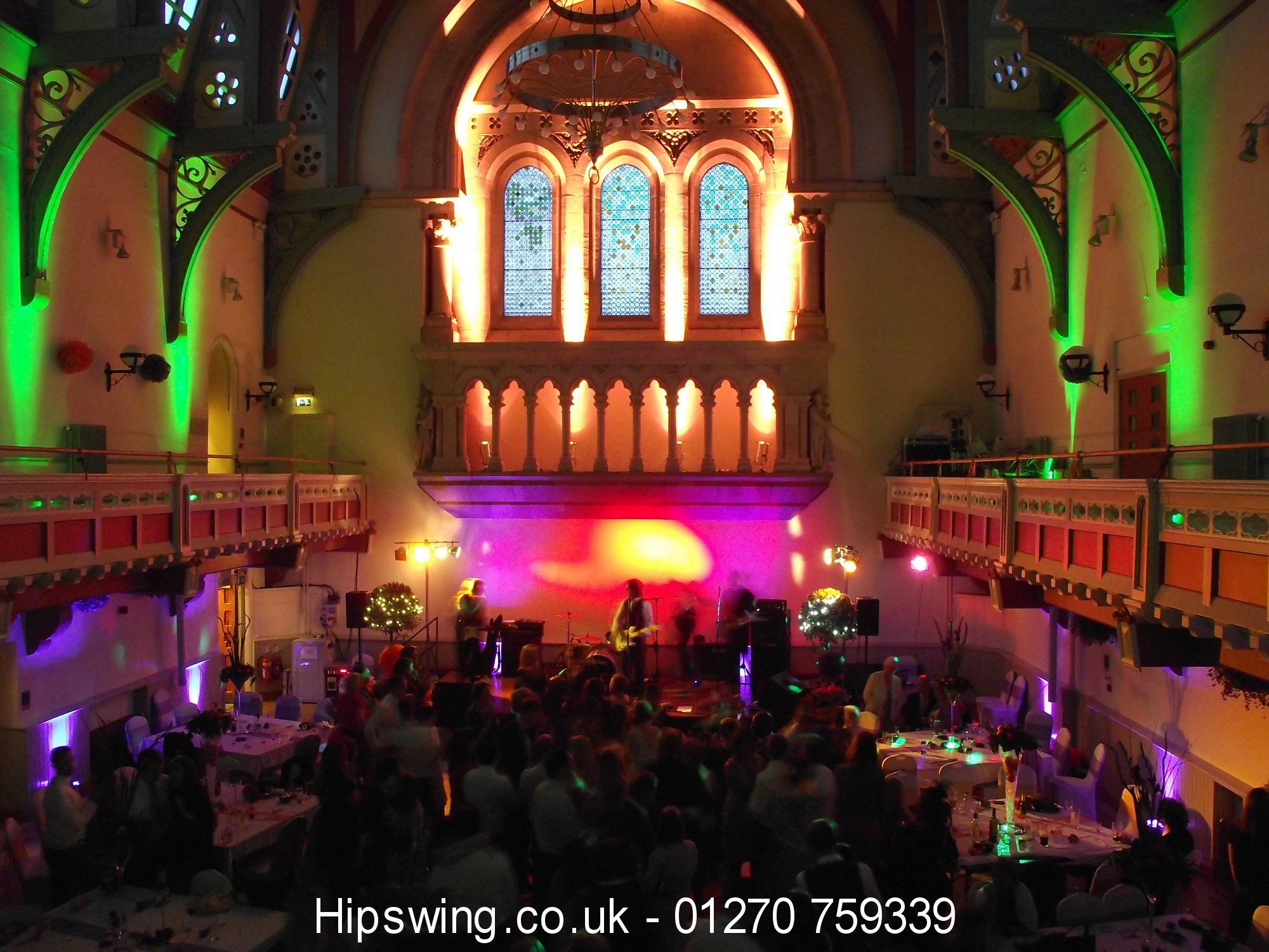Green And Purple Wedding Lighting At Congleton Town Hall Cheshire