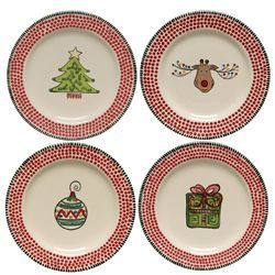 M Bagwell Assorted Christmas Salad Plates