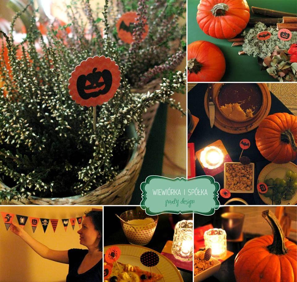 Zestaw dekoracji na Halloween. Dynie i wrzosy w roli