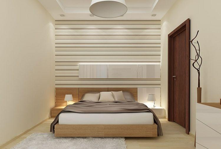 idee-schlafzimmer-beige-streifen-tapete-wand-holz-bett-natur