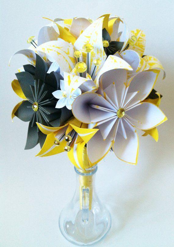 Fleurs en papier & Lys bouquet de mariée-un d'un type de papier fleurs, parfait pour son mariage, l'origami, la fleur de Lys, la destination mariage #paperflowerswedding
