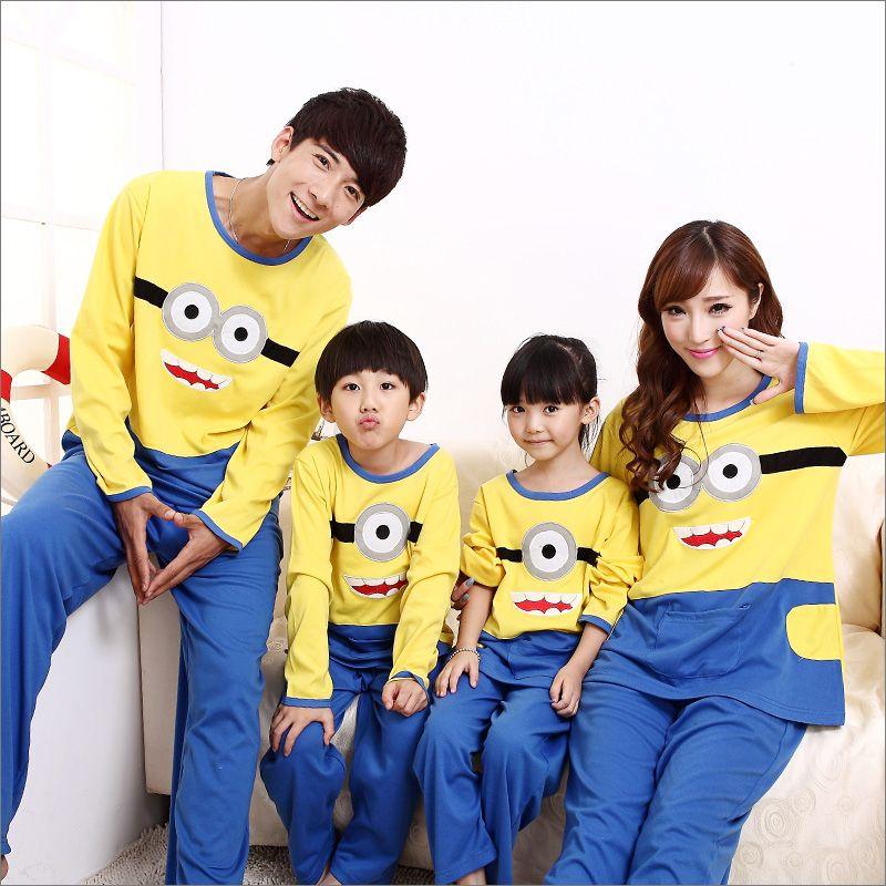 Parent-child sleepwear 100% cotton girls boys long sleeve pajamas set kids despicable me/spongeBob/doraemon suits 2pcs
