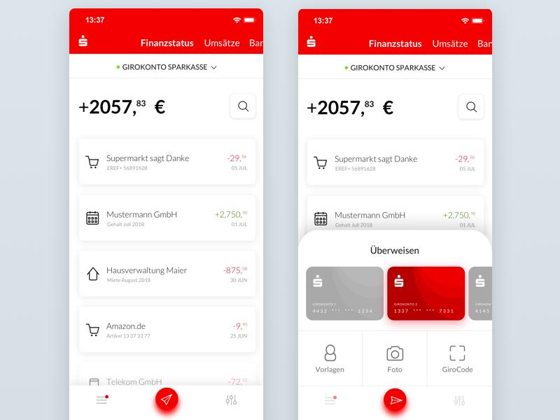 The German Savings Bank Sparkasse App Redesign Savings Bank App Credit Card Balance