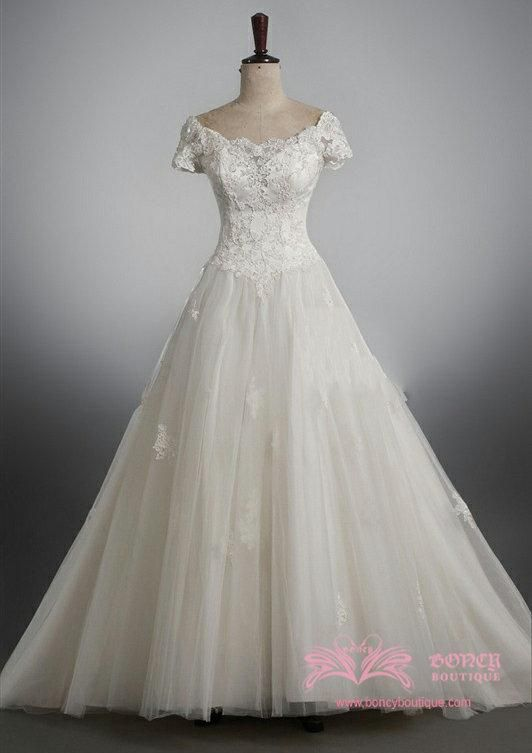 f089688e6360 Short Sleeves Organza Off-the-shoulder Ball Gown with Appliques Fairytale Princess  Wedding Dress (WDS010586) $499.99
