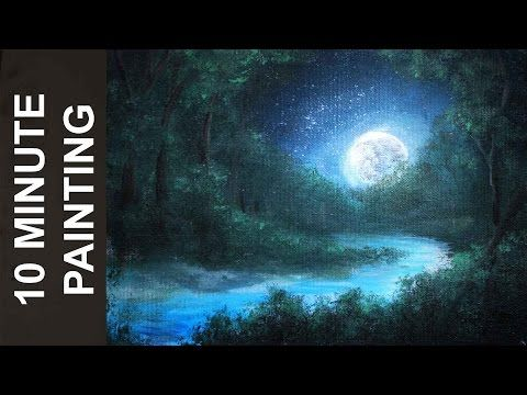How To Paint Trees Full Slow Video Apple Barrel Acrylics Canvas Lesson Art Class - YouTube