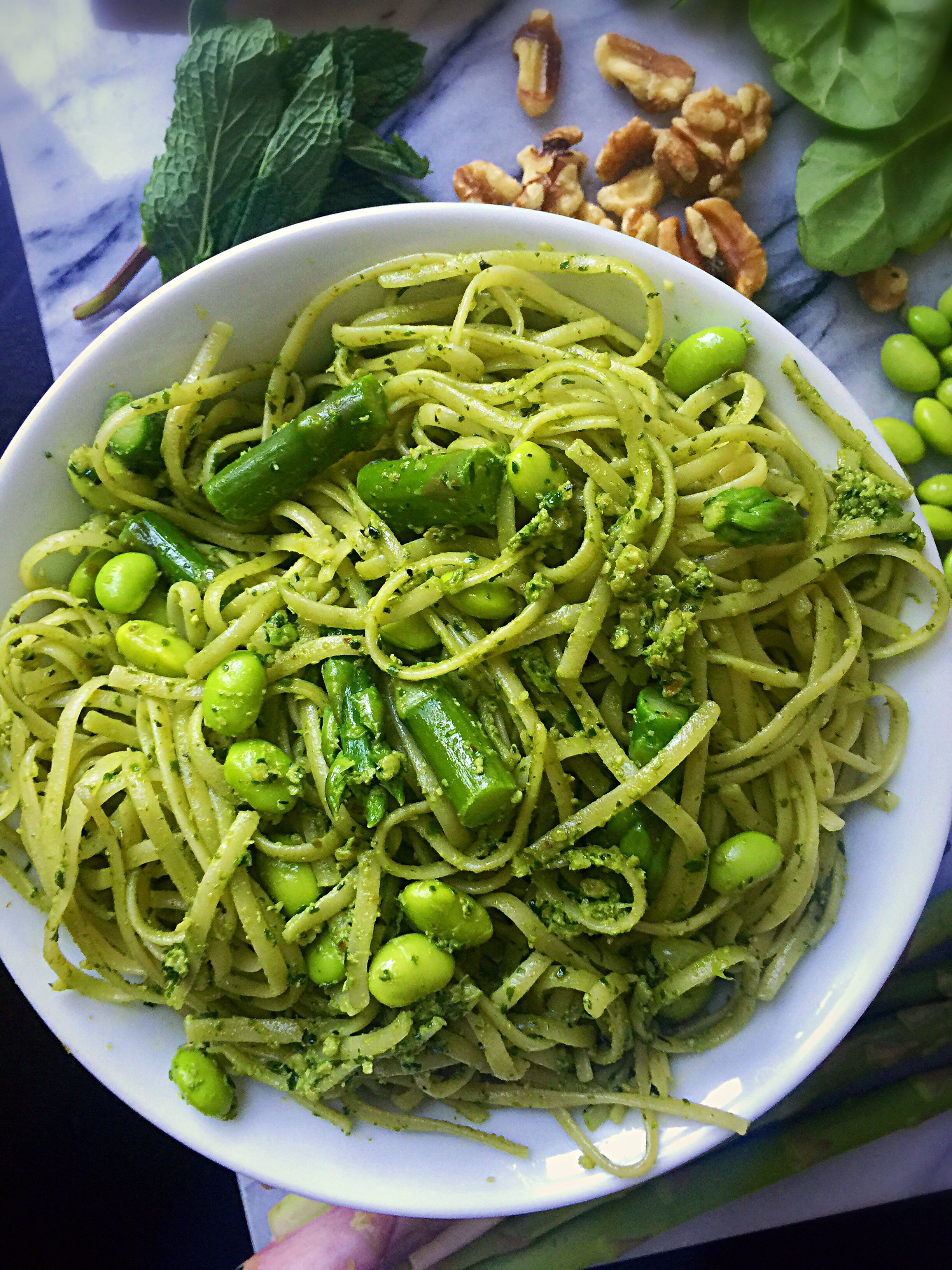 Spring Pasta With Mint Pesto Asparagus And Edamame