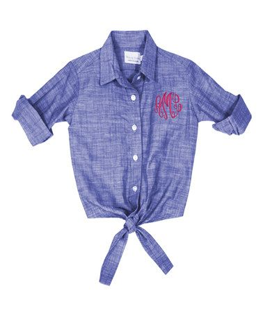 Loving this Blue Chambray Monogram Button-Up Tie Top - Girls on #zulily! #zulilyfinds