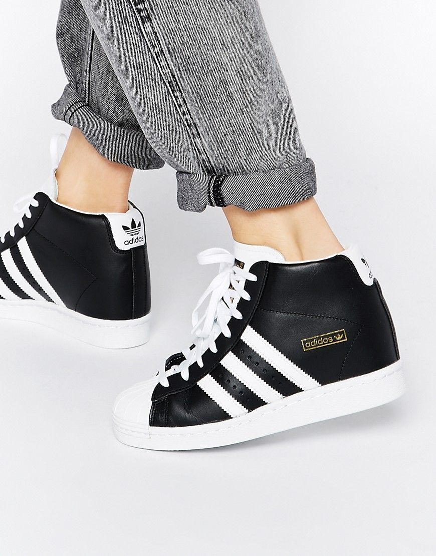 Image 1 of adidas Originals Superstar Concealed Wedge Black High Top  Trainers