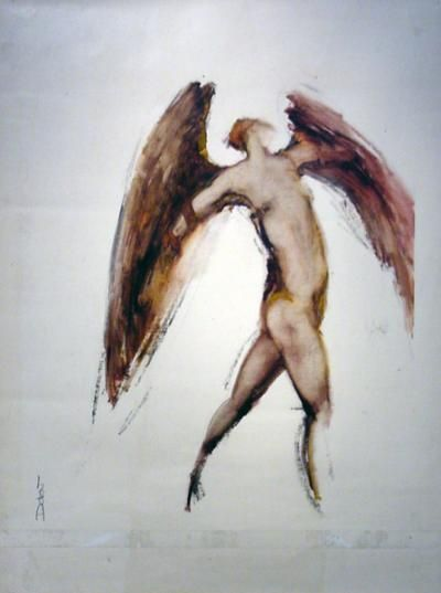 "Skot Foreman Gallery Chrissy Dolan Terrasi ""Icarus VI""  late 1980s Oilstick on paper    23 x 17 in  58 x 43 cm"