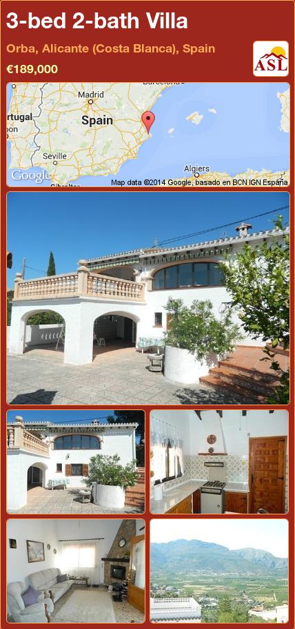 3-bed 2-bath Villa in Orba, Alicante (Costa Blanca), Spain ►€189,000 #PropertyForSaleInSpain