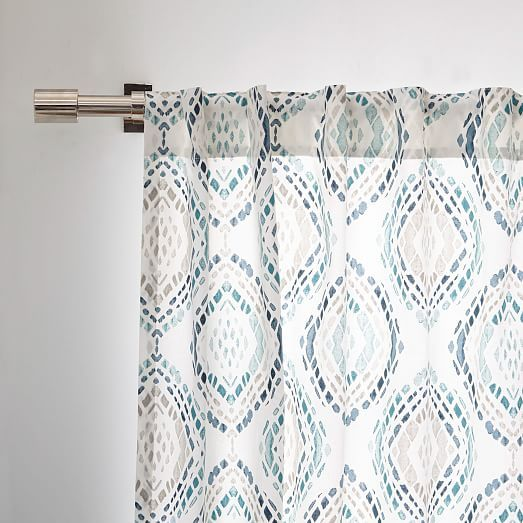 Cotton Canvas Mosaic Medallion Curtain Blue Lagoon