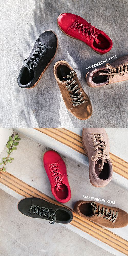917bd361 Make jaws drop in these luxe Gum Sole Platform Sneakers! Features a lace up  design, round toe, and a faux suede upper. Finished with a 1.25