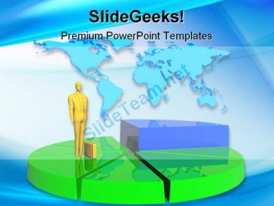 business man and pie global powerpoint background and template, Modern powerpoint