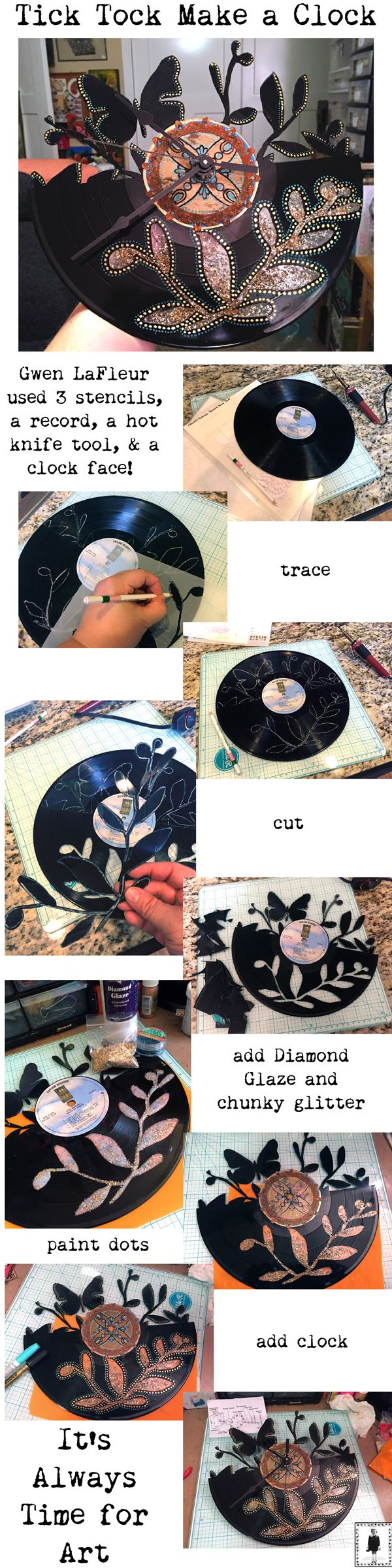 Gwen S Gems Use Stencils And A Vinyl Record To Make A Clock Vinyl Record Crafts Vinyl Record Art Vinyl Records