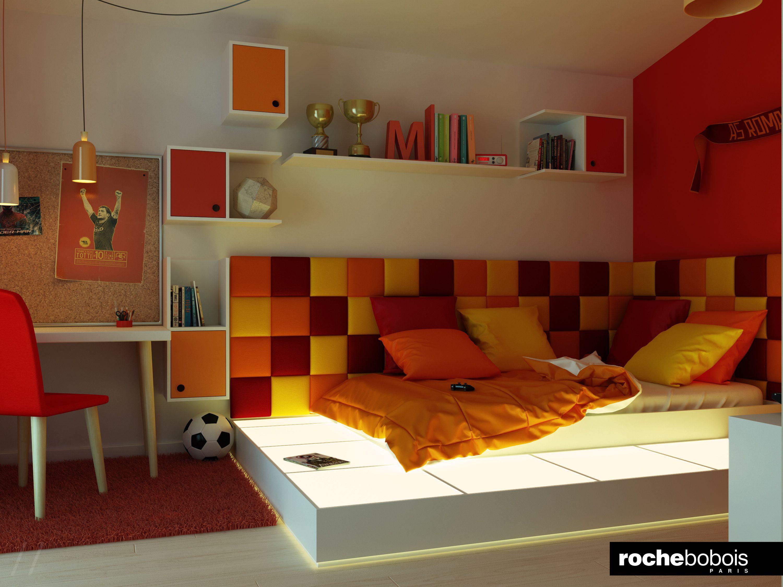 Nidi Camerette ~ Cameretta per un giovane #tifoso della #roma #casellari #luce e