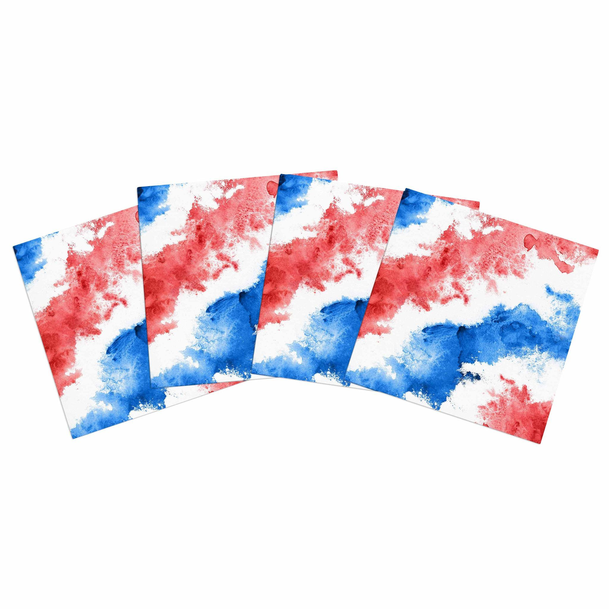 "Kess Original ""Patriotic Watercolor "" Red White Indoor/Outdoor Place Mat (Set of 4)"