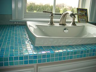 Glass Tile Bathroom Counter
