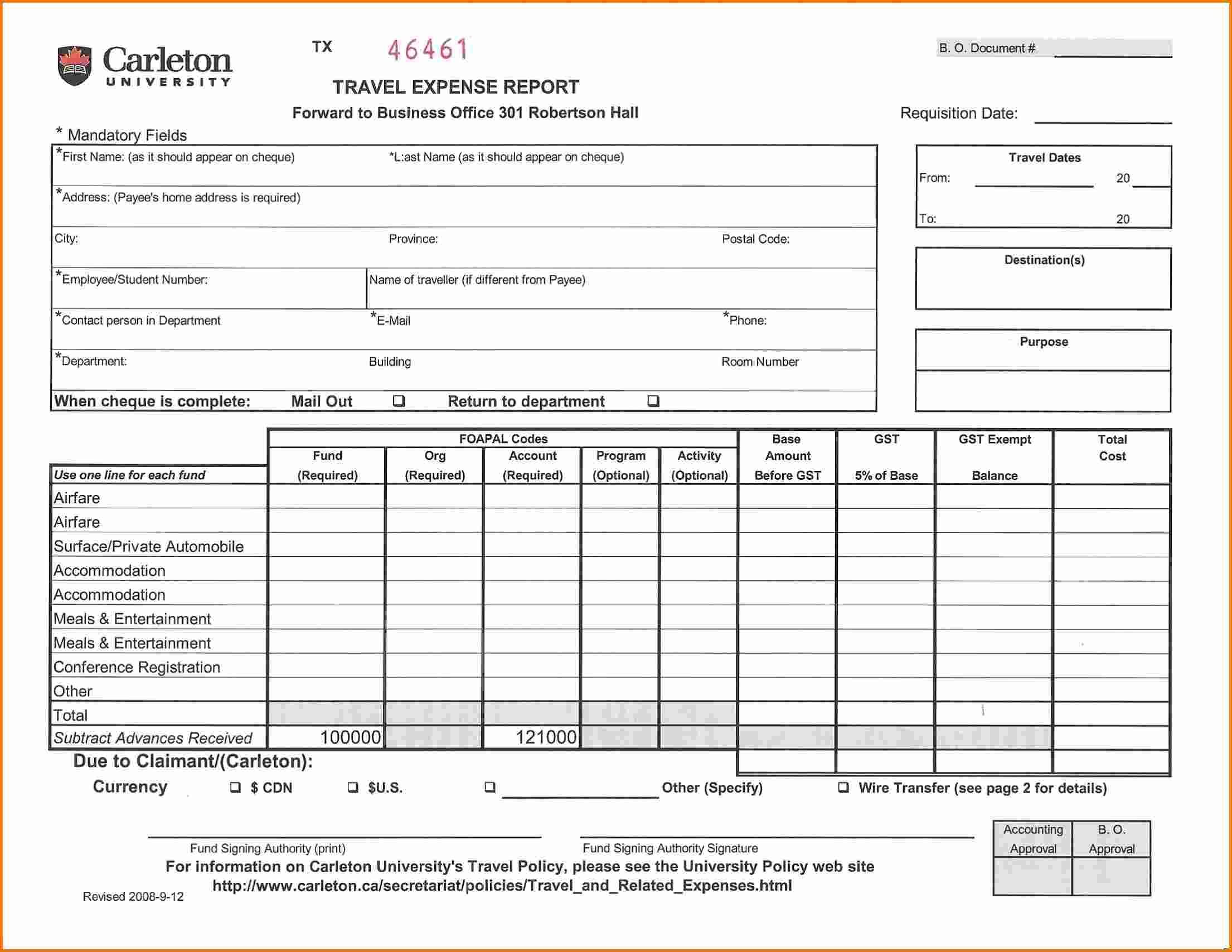 Travel Expense Report Sample Financial Services Expenses Chart Resume Template