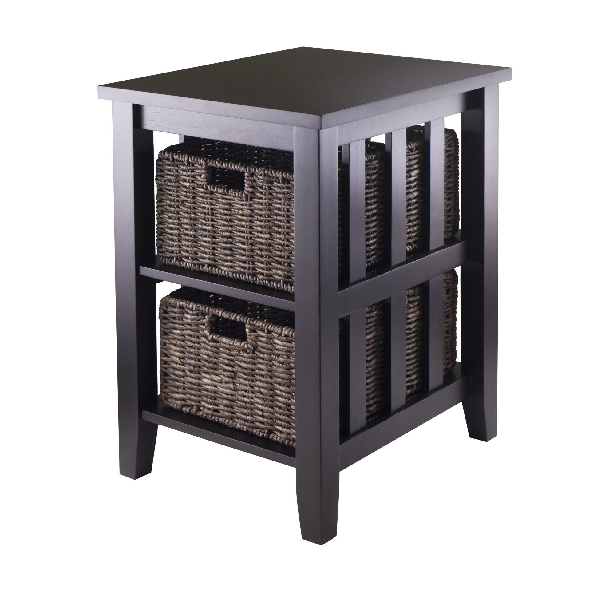 Winsome Morris Espresso Wood Side Table with 2 Foldable Wicker
