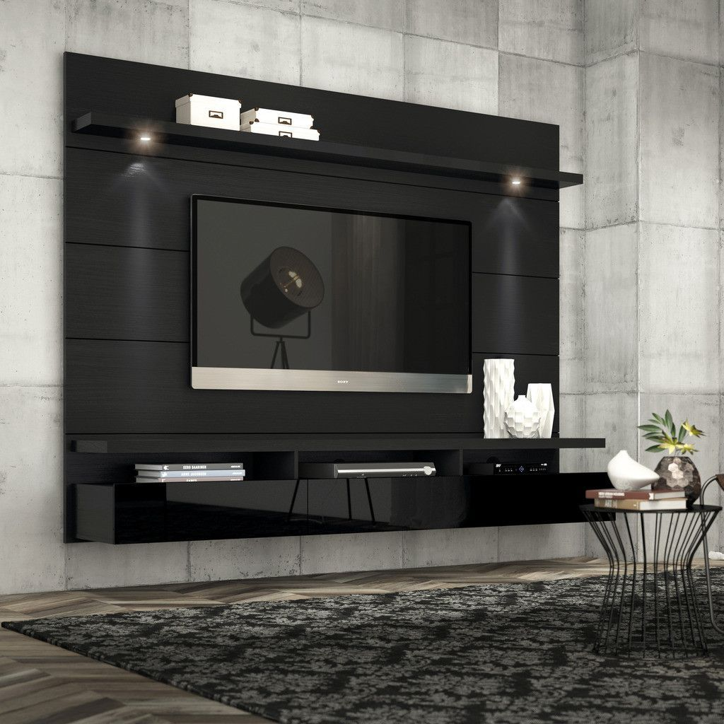 Cabrini 2 2 Floating Wall Theater Entertainment Center in Black