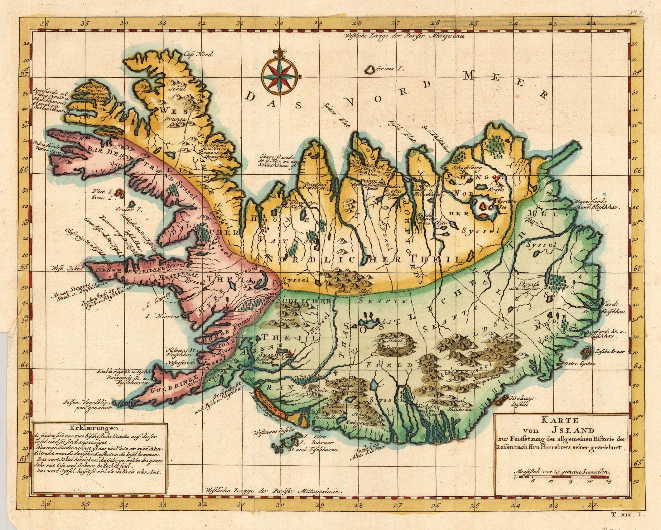 Island Nicolaus Bellin Karte Von Island Zur Fertsetzung Der Allgemeinen Historie Der Reisen Nach Hrn Horrebows Seiner Geze Alte Weltkarten Karten Geografie
