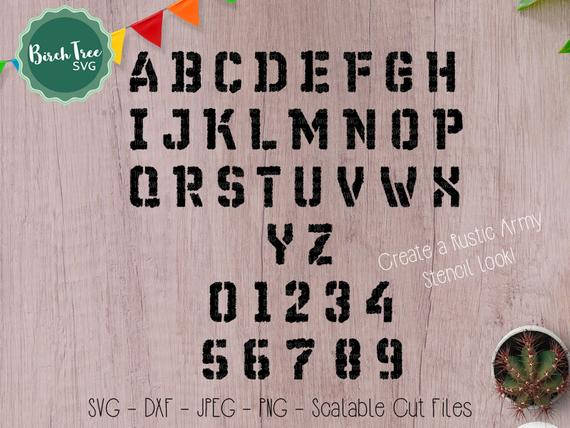 Rustic Stencil Font SVG Cutfile Alphabet, Army Font Svg