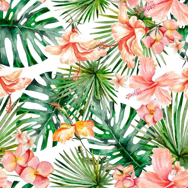 Hibiscus Flowers And Tropical Leaves Wallpaper Leaf Wallpaper Tropical Wallpaper Tropical Leaves