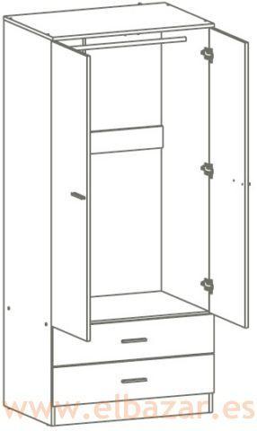 Armario Onti 2 puertas y 2 cajones. Wengue | Comprar Ahora | El Bazar