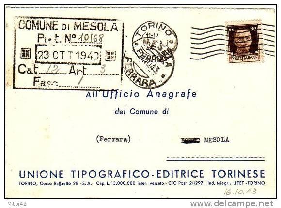 Pubbli citaria U.T.Editrice Torinese-Storia postale 1943 periodo Repubblica Sociale Italiana x Mesola