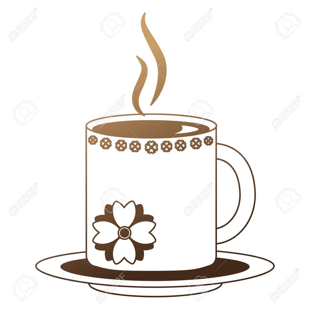 hot beverage decorative coffee mug on dish vector illustration neon design Illustration