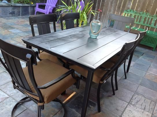 Hampton Bay Oak Heights 7 Piece Patio Dining Set With Cashew Cushions  D12237 7PC At The Home Depot   Mobile