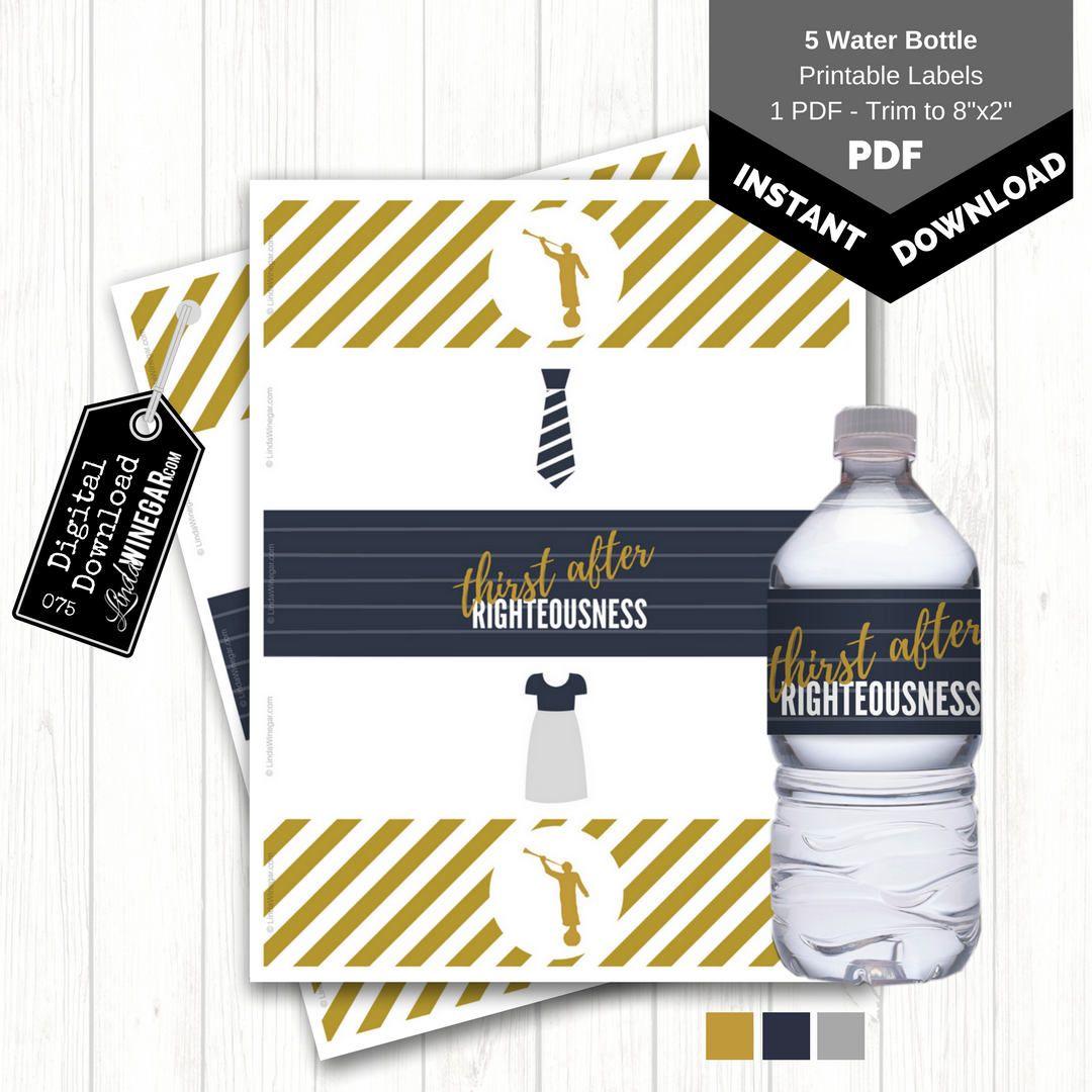 Angel moroni water bottle labels lds baptism favor