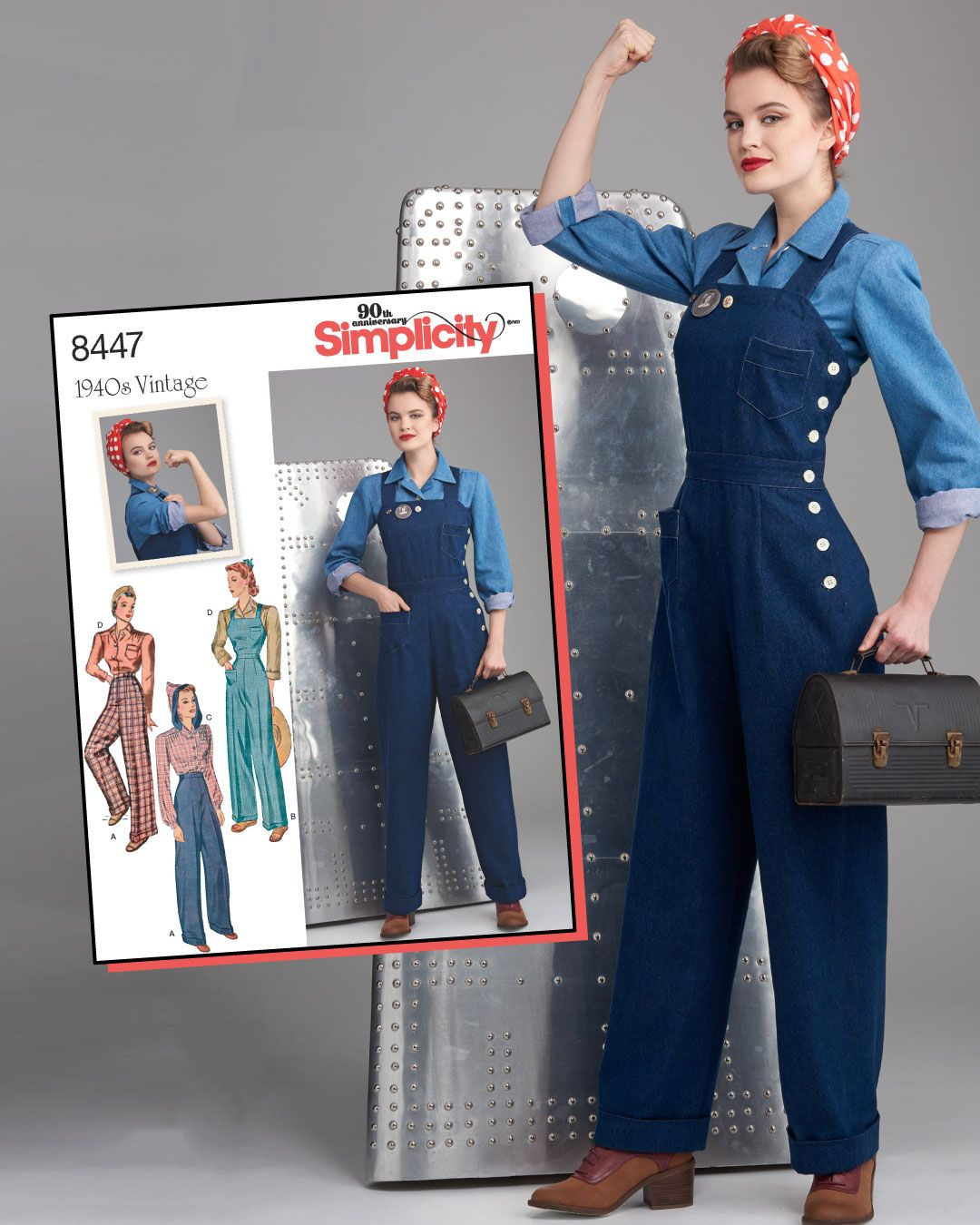 Simplicity Sewing Pattern S8447 Vintage 1940s Trousers, Dungarees & Blouses