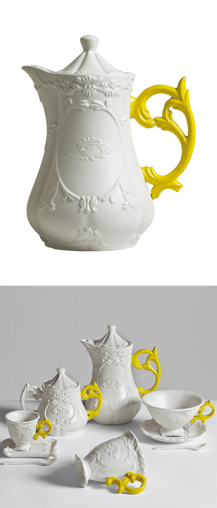 Scroll teapot --live the yellow handles