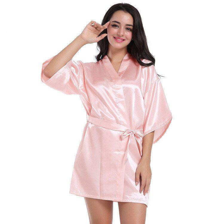 Admireme Kids Satin Kimono Robe Bathrobe Silk Nightgown for Spa Party Wedding Birthday