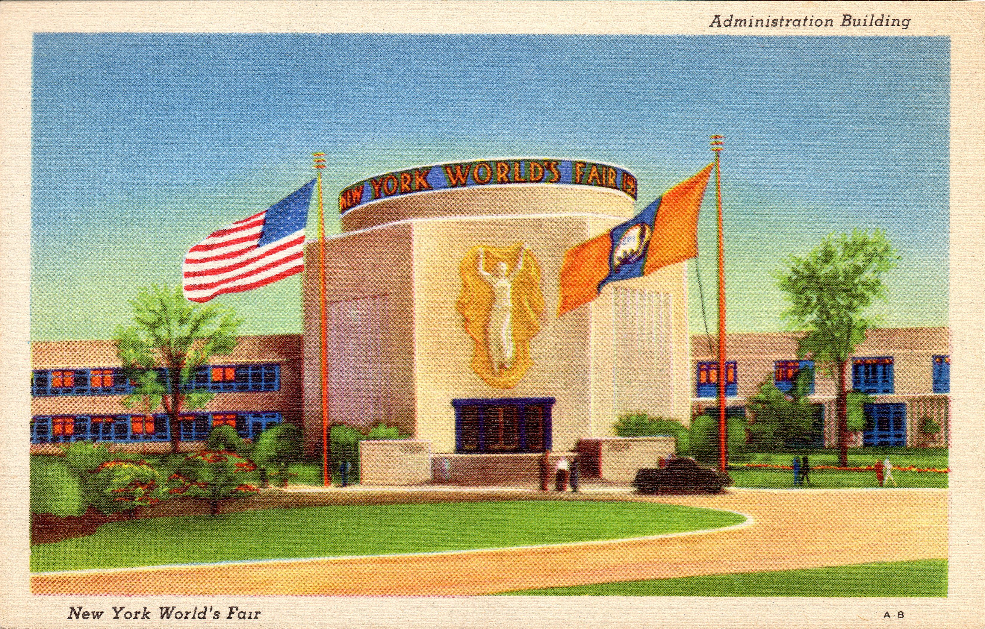 tichnor POSTCARD The Court of the States Building 1939 NEW YORK WORLD/'S FAIR