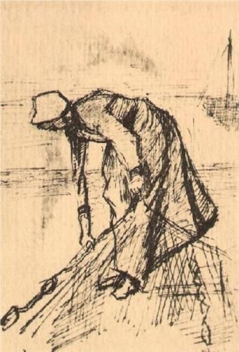 Stooping Woman with Net - Vincent van Gogh