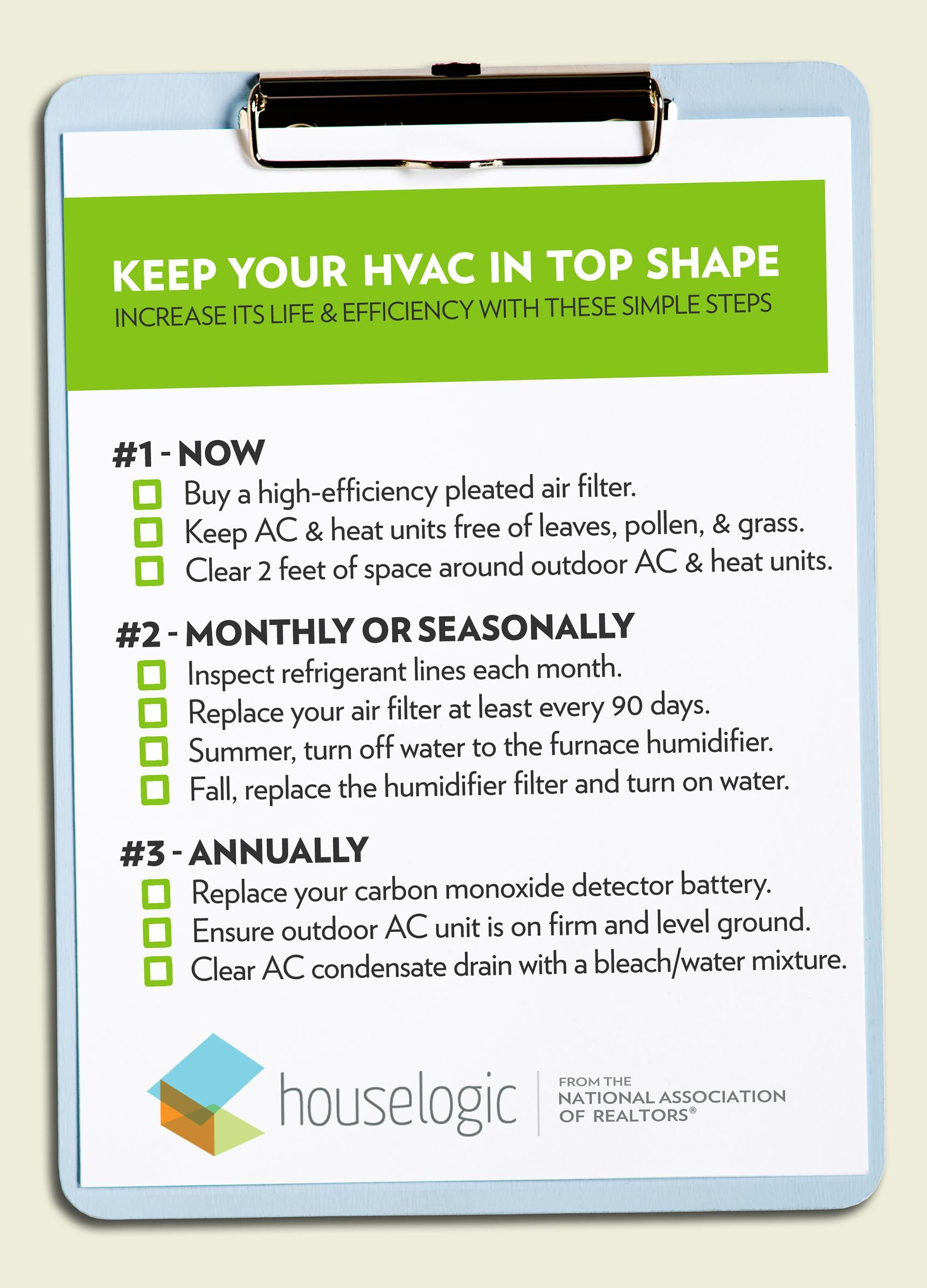 HVAC Maintenance Checklist Hvac maintenance, Heating