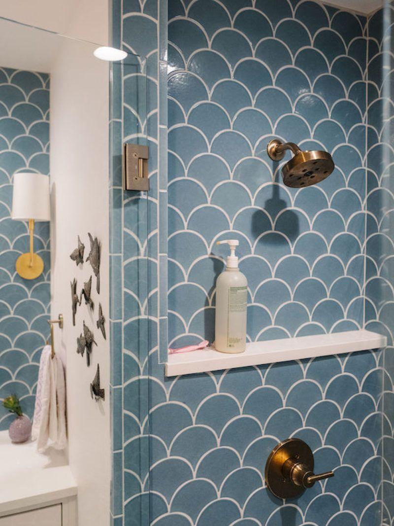 Jessica Honegger Blue Ogee Drop Bathroom Fireclay Tile Ogee Drop Bold Bathroom Tile Fireclay Tile